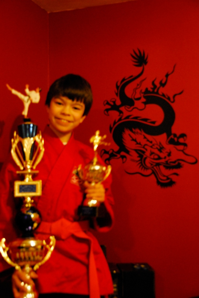 Nick picked up a few trophies for his man cave at the martial arts tournament.